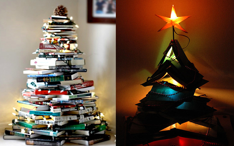 Ý tưởng cây thông Noel từ những cuốn sách