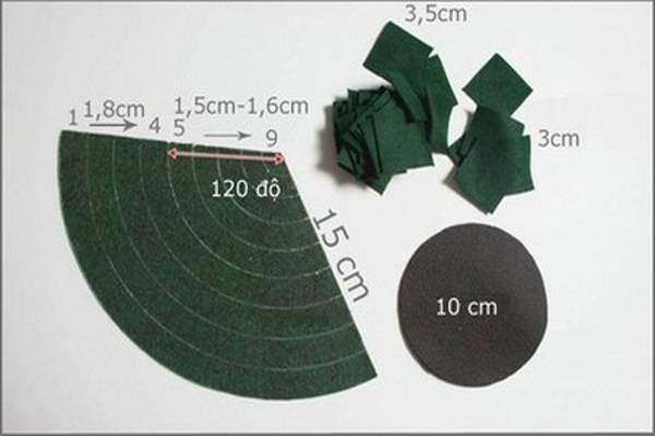Cách cắt vải để làm cây thông noel