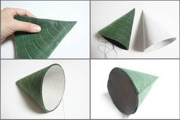 Bạn dùng kim để khâu những tấm vải thành hình chóp