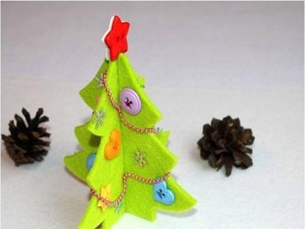 Làm cây thông Noel handmade bằng vải dạ