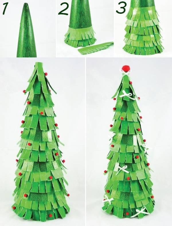Làm cây thông từ giấy tua rua
